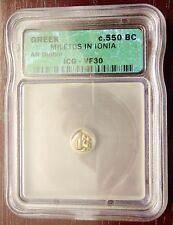 Rare c. 550 BC Silver Greek Diobol Miletus in Ionia ICG VF30!