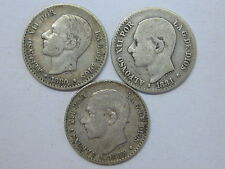 1880 - 1881 - 1885 ALFONSO XII 50 CENT CENTIMOS LOTE 3 MONEDAS SPAIN SPANISH