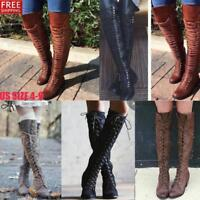 Retro Ladies Over Knee Lace Up Boots Thigh High Combat Low Heel Military Shoes