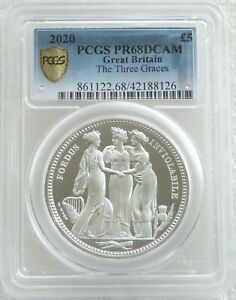 2020 Royal Mint Great Engravers Three Graces £5 Silver Proof 2oz Coin PCGS PR68