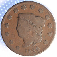 """1824/2  """"MATRON HEAD"""" LARGE CENT, TOUGH EARLY OVER DATE!"""