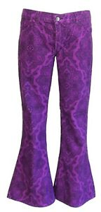 Mens Purple Vintage Hendrix Retro Bell Bottom Super Cord Flares