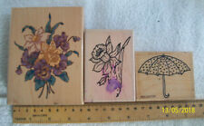 Large Pansy & Daffodils. Umbrella (Stamporium). Rubber Stamps.Job Lot. ref A4