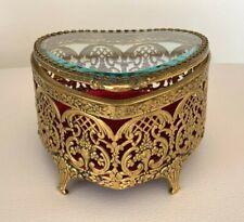 Vintage Ormolu Gold Color Metal and Glass Heart Shape Jewelry Casket Box