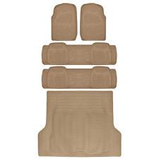 Heavy Duty SUV Rubber Floor Mats Combo Pack 3 Rows PLUS Cargo Liner Beige