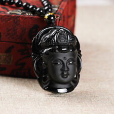 Men's Obsidian Sculptured Chinese Buddha Pendant Lucky Amulet Necklace Jewelry