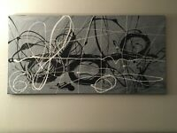 """Modern Large Black White & Grey Abstract Canvas Art Original Painting 24""""x48"""""""