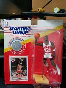 1991 Michael Jordan Starting Lineup SLU Dunking Coin with 1990 Fleer #26 Card