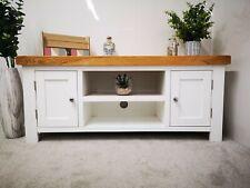White Painted Oak Large TV Cabinet Stand - 120cm Media Cabinet Wide Plasma Unit