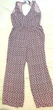 **DIVIDED HM Womens Summer Jumpsuit Blue Floral Sleeveless V-Neck Pockets Sz. 12