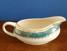 A Vintage Crown Ducal sauce / gravy boat Warwick pattern green blue band