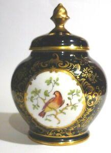 Antique Small Coalport Cobalt Blue Hand Painted Bird Pot Pourri Vase And Cover