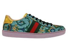 NEW GUCCI LADIES ACE JACQUARD LOW TOP WEB DETAIL SNEAKERS SHOES 39 G/US 9