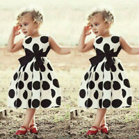 Fashion Toddler Kids Baby Girl Dot Princess Party Bow Sleeveless Dress Outfit ED