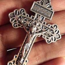 """Large 2.25"""" Pius X Indulgenced Pardon crucifix Cross Rosary Catholic Pendant"""