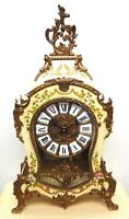 Vintage FHS Boulle Mantel Clock Ting Tang Chime 8 Day Clock & Stand Germany 1980