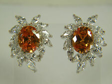 EARRINGS: LARGE MORGANITE OVAL (12X10MM ) WHITE TOPAZ MARQUISE CUT SILVER FILLED