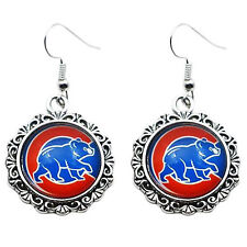 Chicago Cubs Bear Charm Earrings Glass Round Dangle Drop Black Accent Jewelry