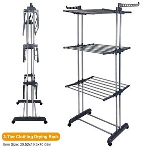 3 Tier Clothes Drying Rack Folding Dryer Hanger Stand Laundry Organizer Durable