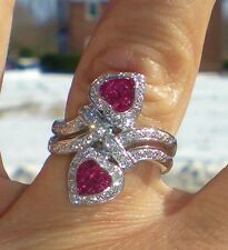 KAY Levian 18K WG 1.67ct Red Ruby Hearts .64ct Diamond Bypass Ring  VERY RARE!