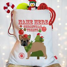 Personalised Fawn French Bulldog Dog Christmas Treat Santa Xmas Sack Stocking