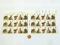 Elizabeth II Partial Sheet 30 x 9p MNH Stamps Postal Woodland Animals 1977 GB
