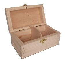 Pine wood storage box - 2 compartment DD129 tea display parts beads jewellery