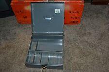 "RARE 1950's Buddy Products 10"" x 10"" x 4"" Metal Cash Box w/ Coin & Cash Tray"