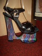 "7"" High Heel Wedge Metallic Rainbow Fabric Cover 3"" Platform Lady Gaga Style Sz5"