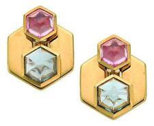 Marina B Hexa 18K Yellow Gold Pink Green Russian Quartz Ear Clips Earrings