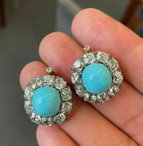 Vintage Style Turquoise Earrings Sim Diamond Round Halo Fine 925 Sterling Silver