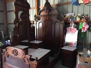 Antique Monumental 9 1/2 Foot Victorian Walnut Marble Top 4 Pc Bedroom Set