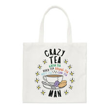Crazy Tea Man Stars Regular Tote Bag Dad Fathers Day Boyfriend British Shopper