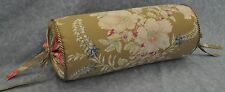 Corded Neck Bolster Pillow made w Ralph Lauren Boat House Brown Floral Fabric