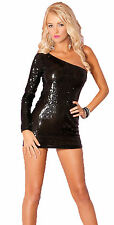 Glitterati Sequin Dress Sequin One Sleeve Mini Dress 25027 M/L Clubwear
