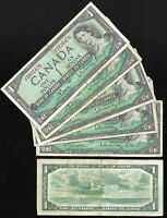 Canada One Dollar $1 (1954) Circulated Banknote - Modified Portrait
