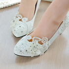 Pearl White Lace Floral Wedding Bridal Shoe High Heels Flat Platform Party #004