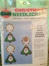 Vintage Bucilla Christmas Needlecraft Set of 3 Felt Holiday Doorknob Ornaments