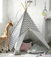 Kids Teepee Tent Gray Canvas Wigwam Childrens Gift Indoor Outdoor Pretend Play
