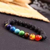 7 Gemstone Crystal Chakra Beaded Bracelet Lava Stone 8mm Beads Reiki Healing UK
