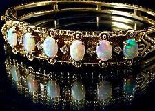 "Antique 14k Yellow Gold Opal Diamond Filigree Hinged Bangle Bracelet 6.5""L 30.6g"