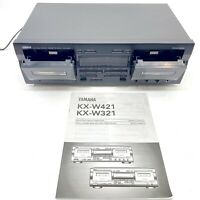 Yamaha Dual Tape Deck Cassette Stereo Recorder Auto Reverse Tested KX-W421