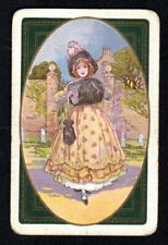 Vintage Swap/Playing  Card - Pretty Girl with Hand Warmer (LINEN)