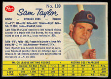 1962 POST CEREAL CANADIAN BASEBALL #189 Sam Taylor EX+ Chicago Cubs Card