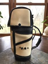 Vintage Black & Tan Leather Mini Golf Club Bag Liquor Bottle Holder Caddy