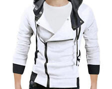 Pishon Men's Oblique Zipper Hoodie Casual Top Coat Plain Slim Fit Hooded Jackets