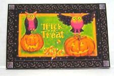 Dollhouse Miniature Halloween Welcome Mat - Jack-O-Lanterns and Owls
