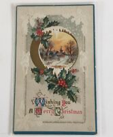 Antique 1911 Traditional Christmas Postcard Church Scene UnPosted Holly Embossed