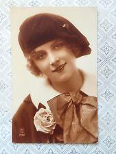 RPPC Novelty Beautiful Lady Glamour Fashion Beret Vintage Postcard