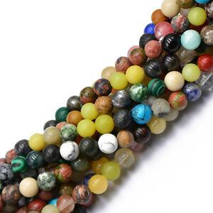 8mm Artistry Natural Jasper Jade Agate Gemstone Round Loose Bead 15 inch